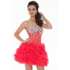 Short/ Mini Watermelon Red Organza Beading Illusion Corset Bustier Cocktail Prom Dress