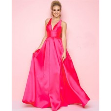 Simple A Line Deep V Neck Criss Corss Back Hot Pink Satin Prom Dress