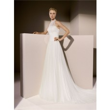 Simple A Line High Neck Ruched Tulle Wedding Dress With Collar