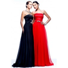 Simple A Line Princess Strapless Long Navy Blue Satin Chiffon Evening Prom Dress