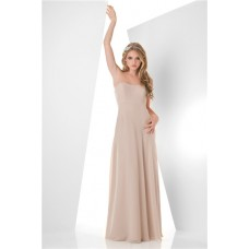 Simple A Line Strapless Long Champagne Chiffon Wedding Party Bridesmaid Dress