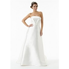 Simple A Line Strapless Ruched Satin Wedding Dress With Crystal Belt Buttons Train