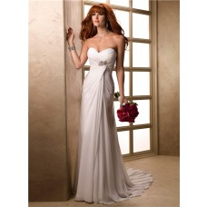 Simple A Line Sweetheart Chiffon Destination Garden Beach Wedding Dress Corset Back