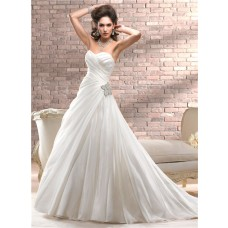 Simple A Line Sweetheart Corset Back Ivory Organza Wedding Dress With Crystal