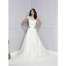 Simple A Line Sweetheart Satin Wedding Dress With Lace Jacket And Bow Sash
