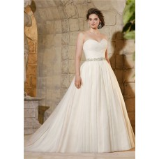 Simple A Line Sweetheart Tulle Ruched Plus Size Wedding Dress Crystals Belt