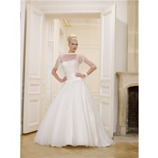 Simple Ball Gown Strapless Drop Waist Satin Tulle Corset Wedding Dress Bow Capelet Jacket