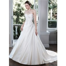 Simple Ball Gown Strapless Low Back Ruched Satin Wedding Dress