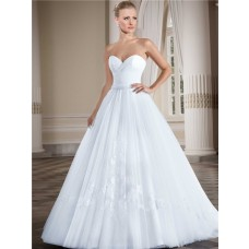 Simple Ball Gown Strapless Sweetheart Tulle Lace Wedding Dress With Beading Belt