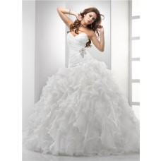 Simple Ball Gown Sweetheart Puffy Organza Wedding Dress With Ruffles Crystal Beading Pleat