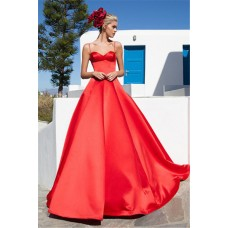 Simple Ball Gown Sweetheart Red Satin Prom Dress With Straps