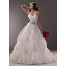 Simple Ball Gown Sweetheart Tulle Ruched Wedding Dress With Crystal