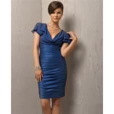 Simple Column V Neck Short Navy Blue Cocktail Evening Dress With Sleeve