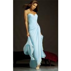 Simple Elegant Strapless Long Light Blue Chiffon Evening Wear Dress