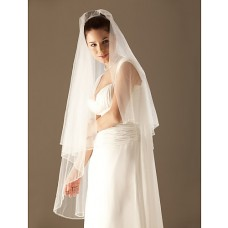 Simple Ivory Tulle Wedding Bridal Veil With Beaded Edge
