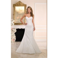 Simple Mermaid Strapless Sweetheart Organza Ruched Corset Wedding Dress