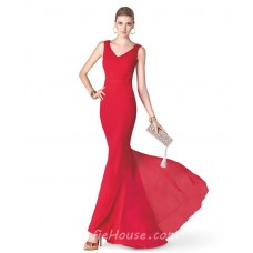 Simple Mermaid V Neck Red Chiffon Long Evening Prom Dress With Sash