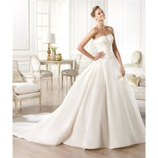 Simple Modern A Line Strapless Slim Waist Satin Wedding Dress With Buttons