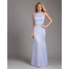 Simple Sheath High Neck Halter Open Back Long Lilac Satin Wedding Guest Bridesmaid Dress
