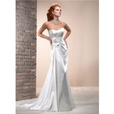 Simple Sheath Scoop Neckline Corset Back Silk Satin Wedding Dress With Bow
