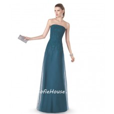 Simple Sheath Strapless Dark Green Tulle Lace Long Evening Prom Dress