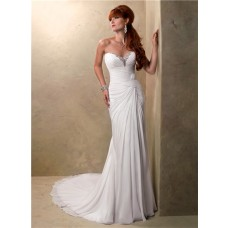 Simple Sheath Sweetheart Asymmetrical Ruching Chiffon Destination Beach Wedding Dress