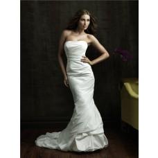 Simple Slim Mermaid Strapless Taffeta Wedding Dress With Ruching