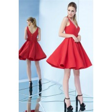 Simple V Neck Short Red Satin Party Prom Dress