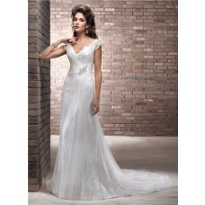 Slim A Line Deep V Neck Cap Sleeve Lace Tulle Wedding Dress With Low Back Buttons