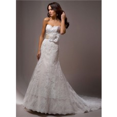 Slim A Line Strapless Vintage Lace Wedding Dress With Flower Sash