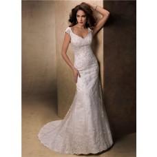 Slim A Line V Neck Cap Sleeve Low Back Lace Beaded Wedding Dress