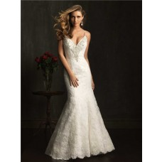 Slim Fitted Mermaid Spaghetti Straps V Neck Lace Beaded Wedding Dress Backless
