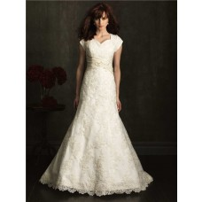 Slim Fitted Mermaid Sweetheart Ivory Lace Modest Wedding Dress With Sash Buttons