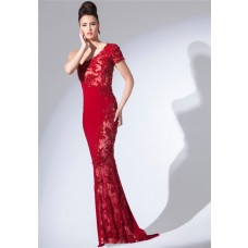Slim Fitted One Shoulder Sleeve Long Red Jersey Lace Beaded Evening Dress