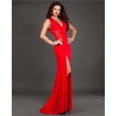 Slim Fitted V Neck High Slit Long Red Jersey Lace Evening Prom Dress