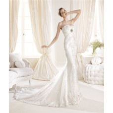 Slim Fitting Mermaid Strapless Feather Neckline Lace Wedding Dress With Crystal
