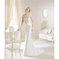 Slim Mermaid High Neck Cap Sleeve Lace Chiffon Wedding Dress Low Back