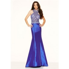 Slim Mermaid High Neck Open Back Royal Blue Taffeta Beaded Prom Dress