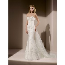 Slim Mermaid Strapless Corset Back Lace Beaded Crystal Wedding Dress With Detachable Train