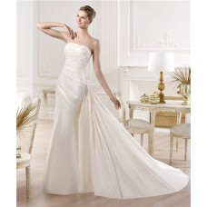 Slim Mermaid Strapless Ruched Satin Wedding Dress With Detachable Train