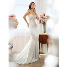 Slim Mermaid Strapless Sweetheart Drop Waist Shimmer Satin Lace Beaded Wedding Dress