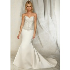 Slim Mermaid Sweetheart Satin Embroidered Wedding Dress With Crystal Buttons