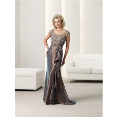 Slim Scoop Neck Short Sleeve Brown Taffeta Ruched Mother Of The Bride Evening Dress