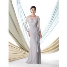 Slim Sheath Bateau Neck Silver Chiffon Lace Sleeve Mother Of The Bride Evening Dress