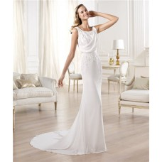 Slim Sheath Bateau Neck Sleeveless V Back Lace Chiffon Wedding Dress