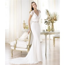 Slim Sheath V Neck Cap Sleeve Satin Lace Chiffon Wedding Dress With Buttons
