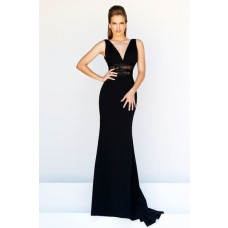 Slim Sheath V Neck Long Black Chiffon See Through Lace Formal Evening Prom Dress