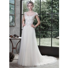 Sparkly A Line Scoop Neckline Cap Sleeve Backless Tulle Crystal Wedding Dress