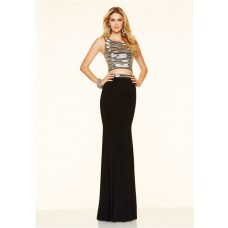 Sparkly Mermaid Two Piece Long Black Jersey Beaded Evening Prom Dress