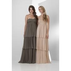 Strapless Empire Waist Long Champagne Chiffon Ruffle Tiered Occasion Bridesmaid Dress With Belt